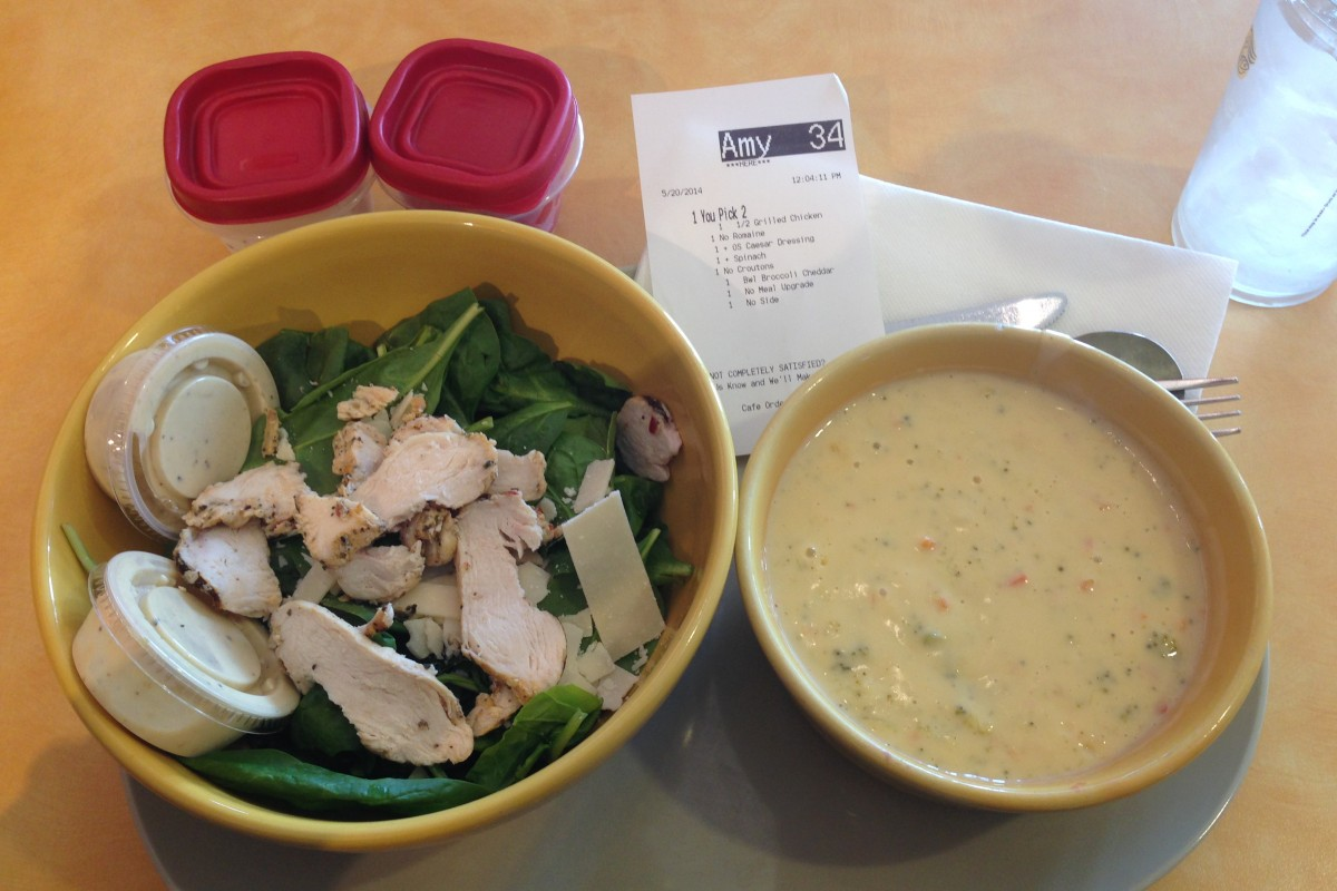 Healthy Eating Out: Panera Broccoli cheddar soup and spinach salad